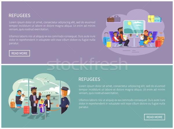 Refugiado árabe famílias internet promo pôsteres Foto stock © robuart