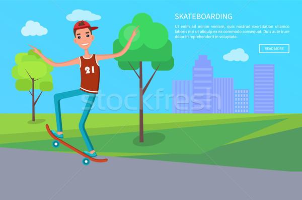 Stock photo: Skateboarding Banner Skateboarder Shirt and Jeans