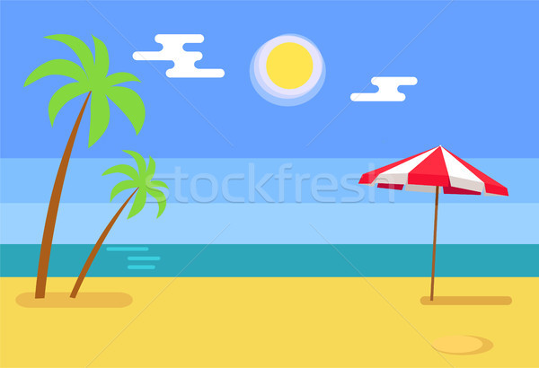 Tropical Island with Seashore Hot Sand Blue Water Stock photo © robuart