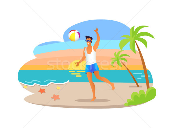 Guy jouer balle tropicales mer Photo stock © robuart