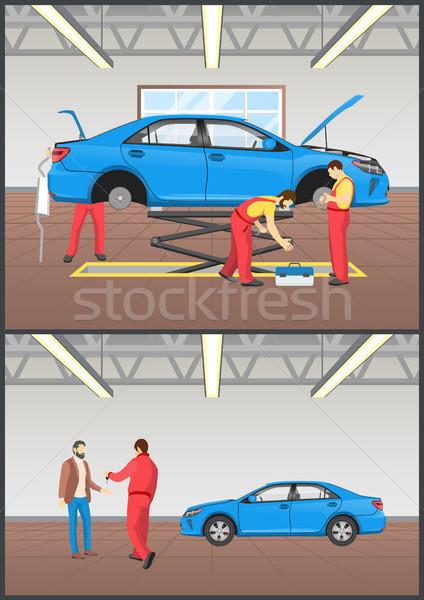 Samochodu utrzymanie auto mechanika usługi Zdjęcia stock © robuart