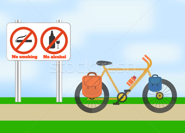 Bicycle on road. Bicycle tourism sport. Stock photo © robuart