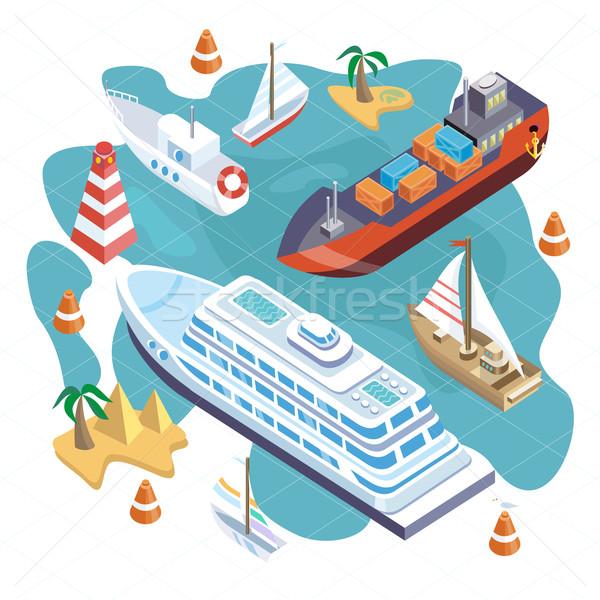Isometric Set Ships. Sea Transport Stock photo © robuart