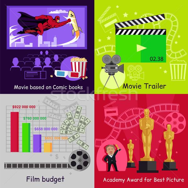 Sinema ayarlamak afişler film film dizayn Stok fotoğraf © robuart