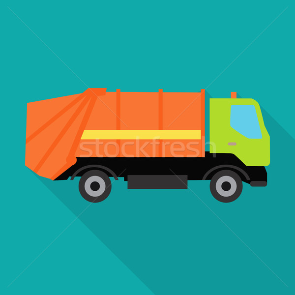 Garbage Truck Vector Illustration in Flat Design. Stock photo © robuart