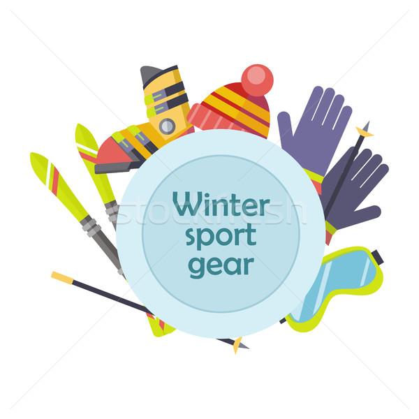 Wintersport versnelling vector ontwerp illustratie ski Stockfoto © robuart