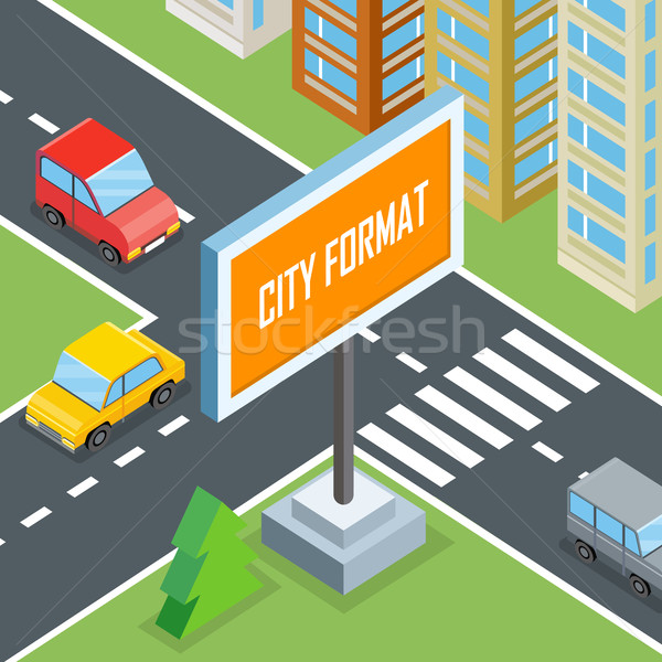 City Format. Urban Crossroads with Cars and Houses Stock photo © robuart