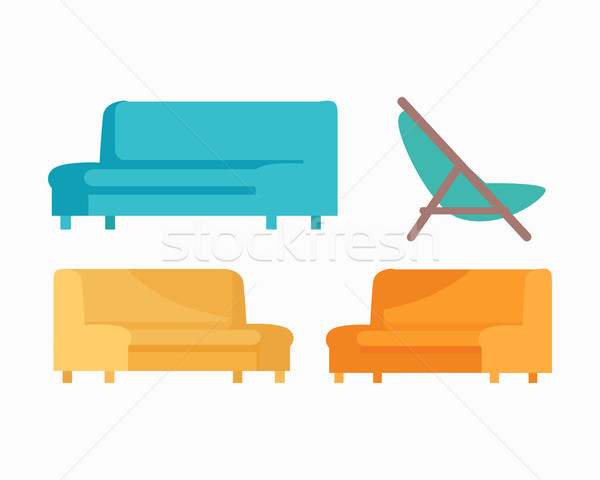 Set of Luxury Sofas and Armchair. For Modern Room Stock photo © robuart