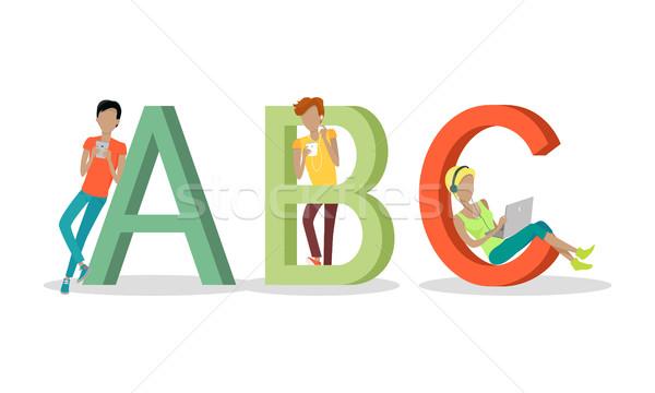 Alfabeto carta personas cartas Foto stock © robuart