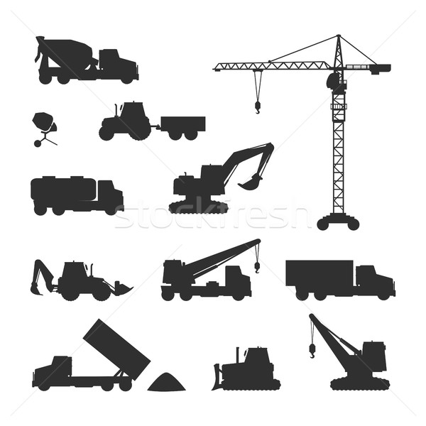 Silhouettes of Construction Machines on White Stock photo © robuart