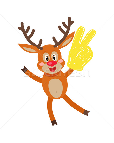 Deer in Glove with Victory Sign Isolated on White. Stock photo © robuart