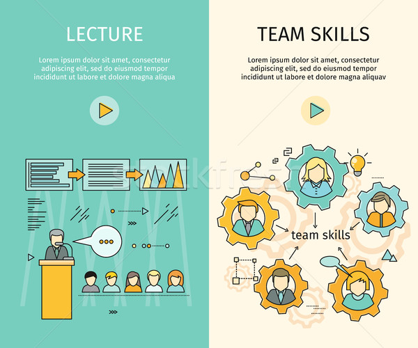 Set of Business Education Vector Web Banners Stock photo © robuart