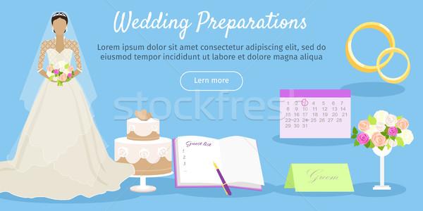 Wedding Preparations Web Banner. Vector Stock photo © robuart