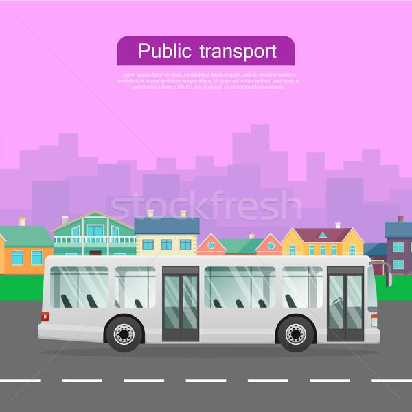 Witte stedelijke openbaar vervoer groot stad bus Stockfoto © robuart