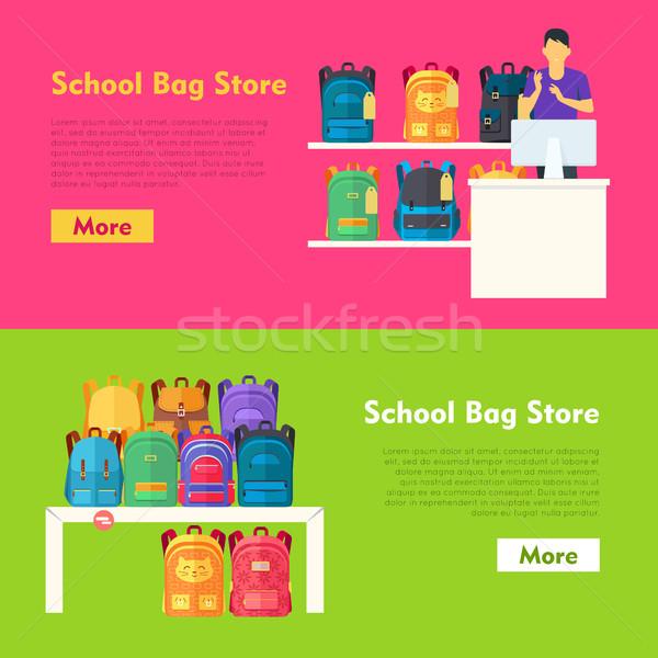 Stock fotó: Iskola · táska · bolt · kettő · felajánlás · szalag
