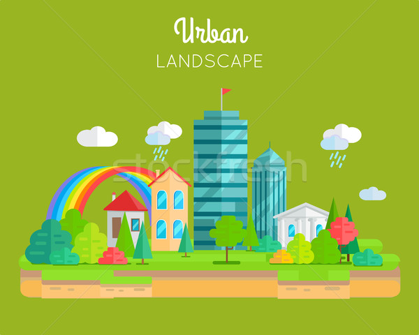 Urban Landscape Vector Concept In Flat Design. Stock photo © robuart