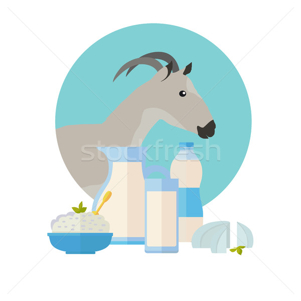 Goat Icon with Milk Products. Dairy Set Stock photo © robuart