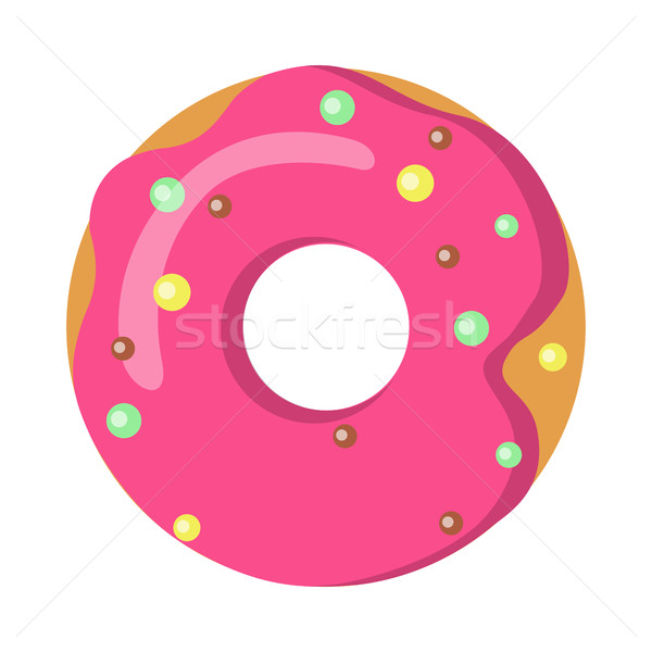 Stock photo: Sweets. Picture of Doughnut with Pink Sprinkles