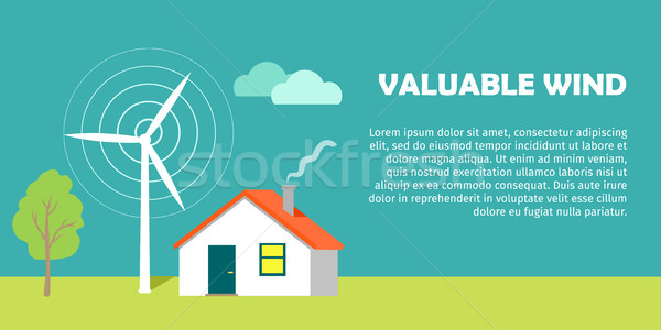 Valuable Wind Conceptual Flat Style Vector Banner Stock photo © robuart