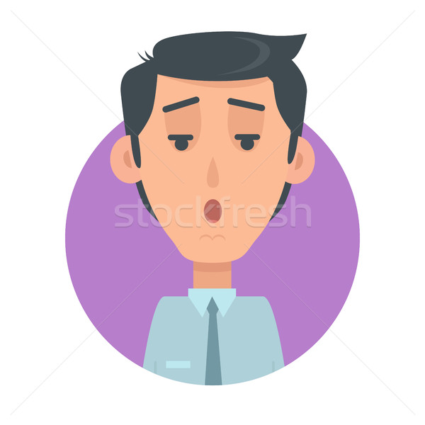 Man Face Emotive Vector Icon in Flat Style   Stock photo © robuart