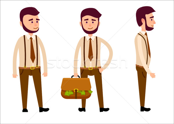 Man in Full Face, from Side View and Hulf-Turned Stock photo © robuart
