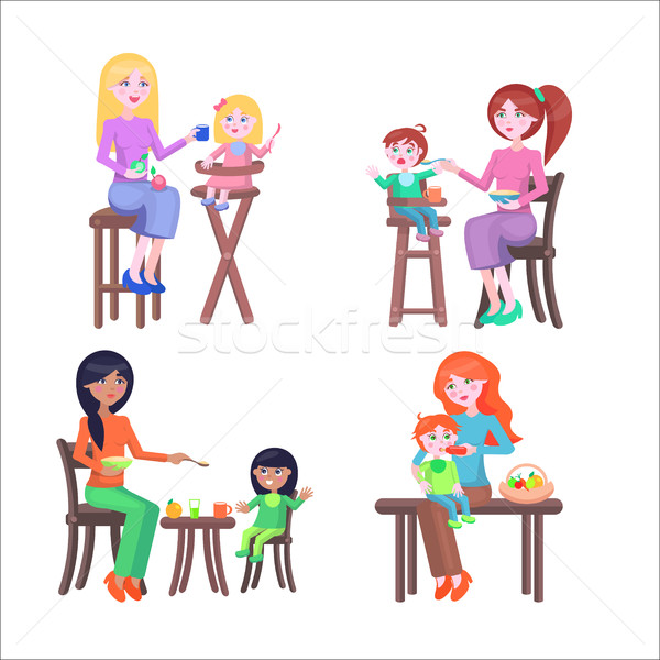 Set of Mothers and Children. Happy Mother Day Set. Stock photo © robuart