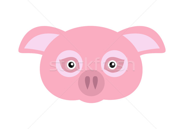 Pink Pig Domestic Animal Carnival Mask. Vector Stock photo © robuart