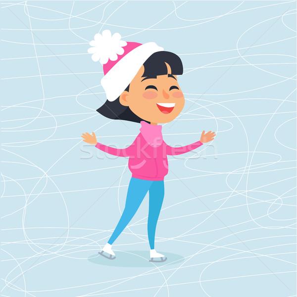 Geïsoleerd glimlachend cartoon meisje schaatsen rooskleurig Stockfoto © robuart