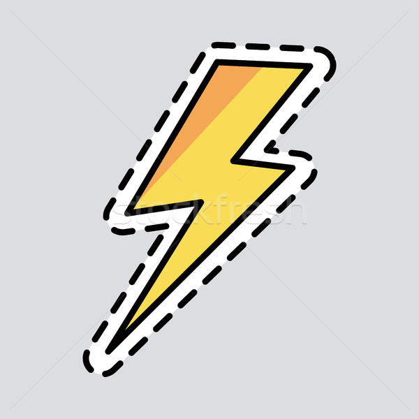 Yellow Lightning Icon. Cut it out. Patch. Energy Stock photo © robuart