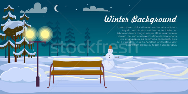 Snowman and Bench on Winter Background. Dark Night Stock photo © robuart