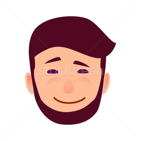 Sarcastic Smile on Cartoon Man Face Illustration Stock photo © robuart