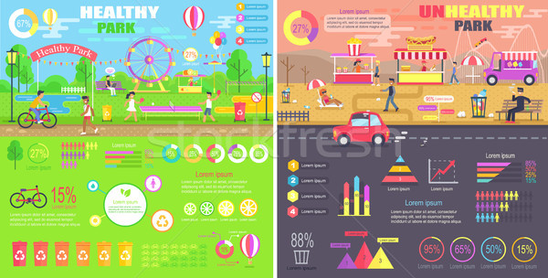Saudável insalubre comparação diagramas estatística Foto stock © robuart