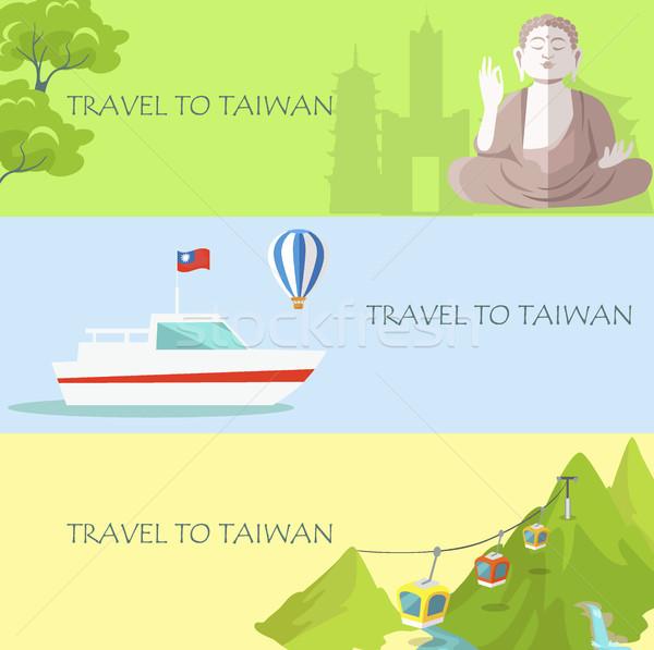 Seyahat Tayvan renkli afiş vektör geleneksel Stok fotoğraf © robuart