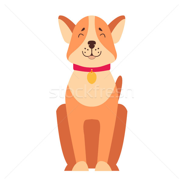 Cute hond cartoon vector icon gelukkig Stockfoto © robuart