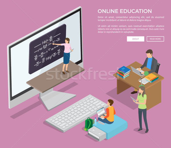 People Studying Online via Internet Vector Poster Stock photo © robuart