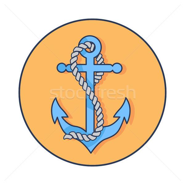 Círculo bandeira âncora corda em torno de azul Foto stock © robuart