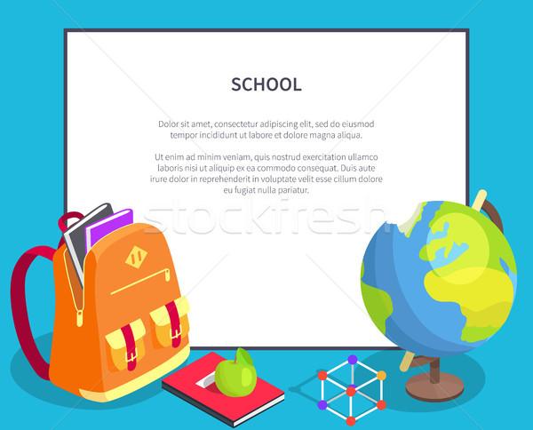 De volta à escola cartaz geográfico globo livro escolas Foto stock © robuart