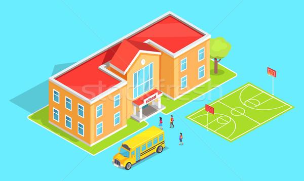 学校 オレンジ 黄色 バス 機関 ストックフォト © robuart