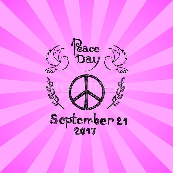 Internationale vrede dag logo hippie teken Stockfoto © robuart