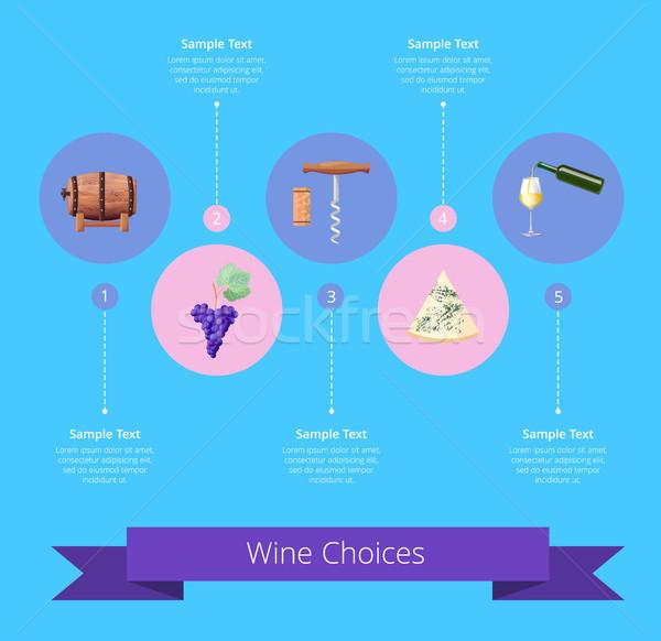 Stockfoto: Wijn · keuzes · iconen · lint · opschrift · geschreven