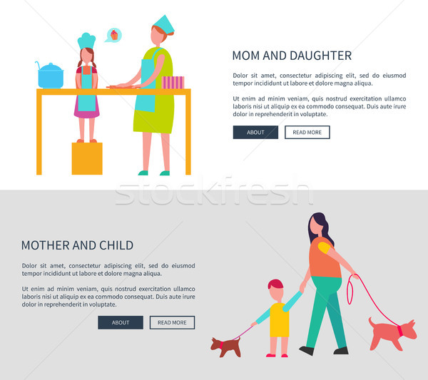 Mom and Daughter, Mother with Child Vector Web Set Stock photo © robuart