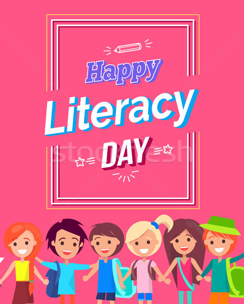 Happy Literacy Day Colorful Bright Postcard Stock photo © robuart