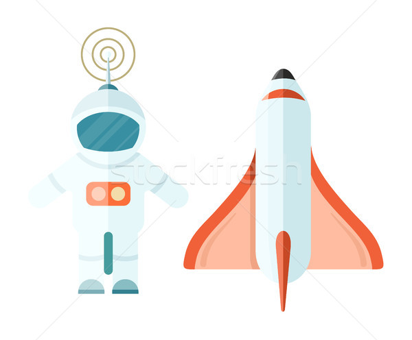 Astronaut and Space Rocket Isolated on White. Stock photo © robuart
