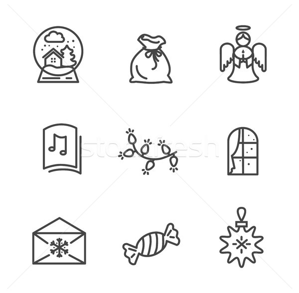 Set of Black Wintertime Icons Vector Illustration Stock photo © robuart
