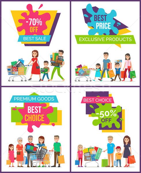 Exkluzív termékek legjobb ár szett négy plakátok Stock fotó © robuart