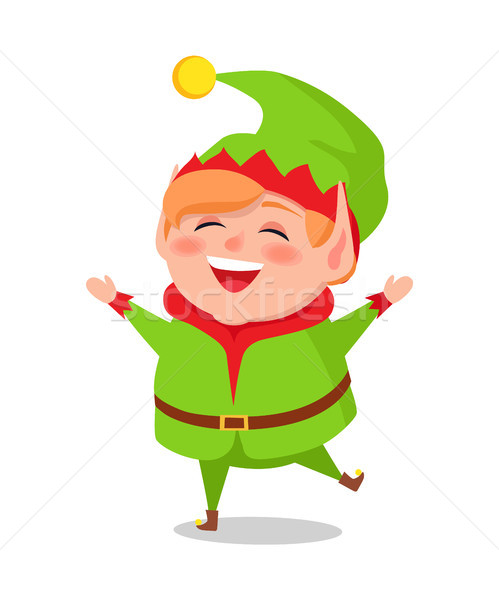 Merry Elf in Green Suit Stands on One Leg and Sing Stock photo © robuart