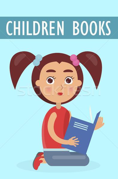 Ninos libros anuncio nina anuncio pequeño Foto stock © robuart
