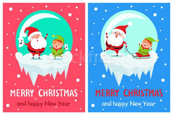 Merry Christmas Singing Santa Vector Illustration Stock photo © robuart