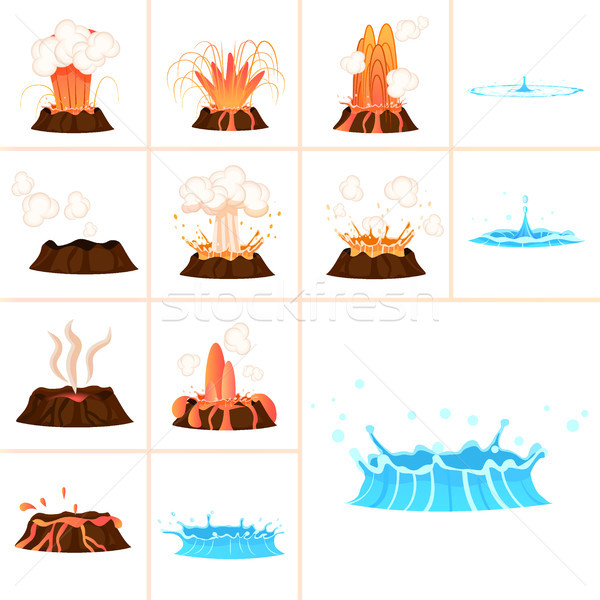 Stages of Volcanic Eruption and Water Splash Set Stock photo © robuart