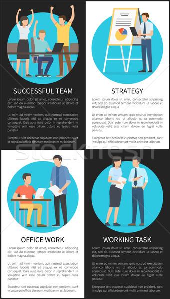 Stockfoto: Ingesteld · geslaagd · kantoorwerk · strategie · banners · werknemers